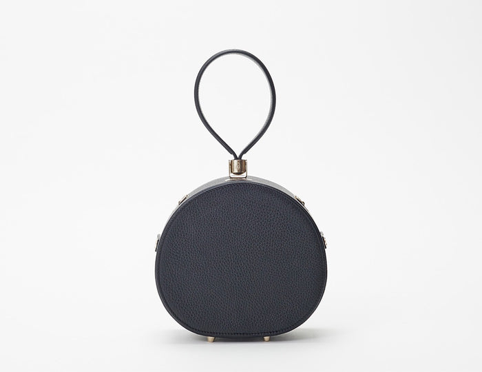 Mini & Demi Poppy Round Leather Bag, Black