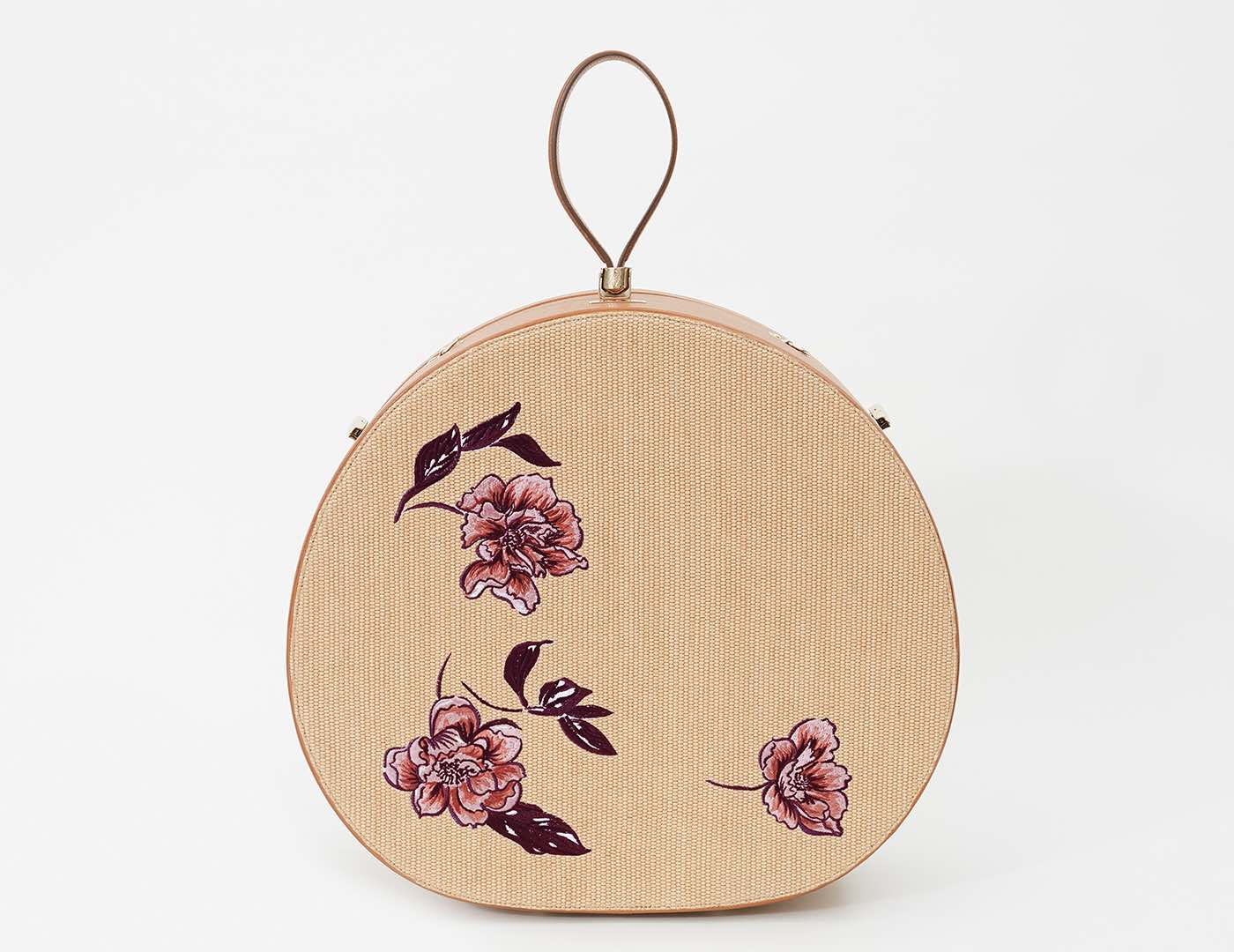Poppy Travel Hat Box, Embroidered