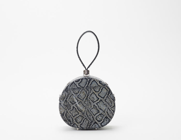 Mini Poppy Round Leather Bag, Black Python Embossed
