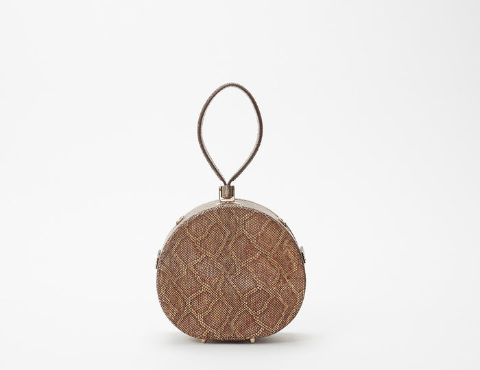 Mini Poppy Round Leather Bag, Camel Python