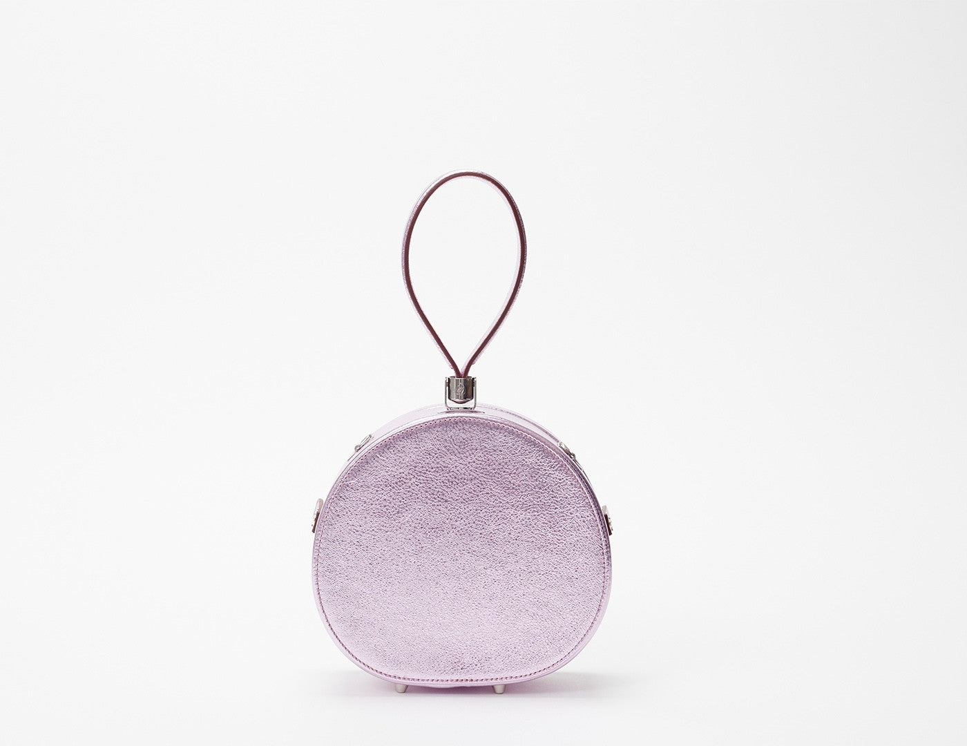 Mini Poppy Round Leather Bag, Lilac Metallic