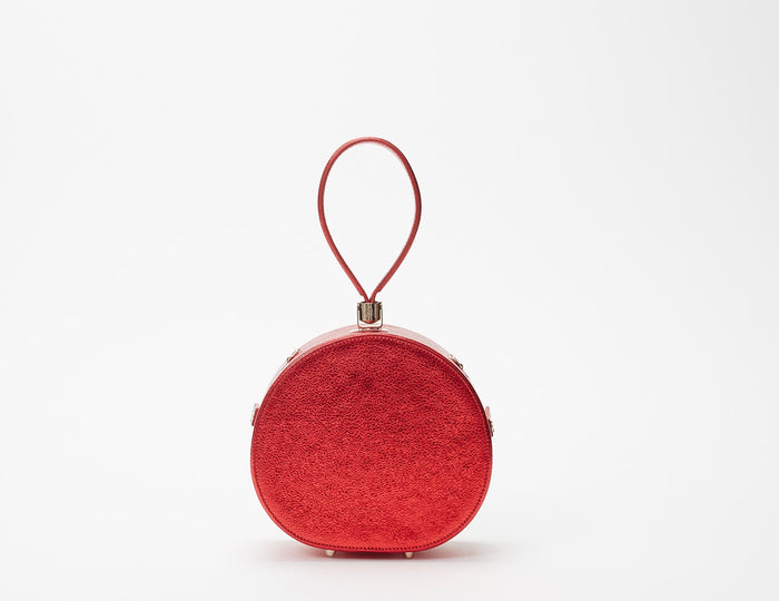 Mini Poppy Round Leather Bag, Ruby Metallic