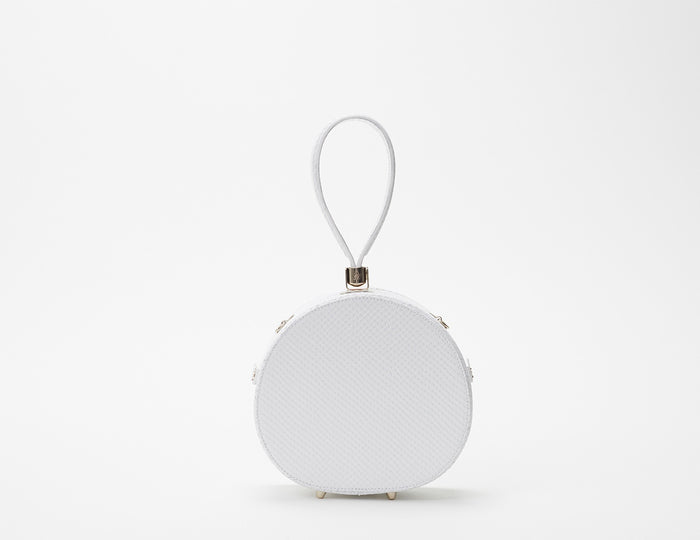 Mini Poppy Round Leather Bag, Snow Snakeskin