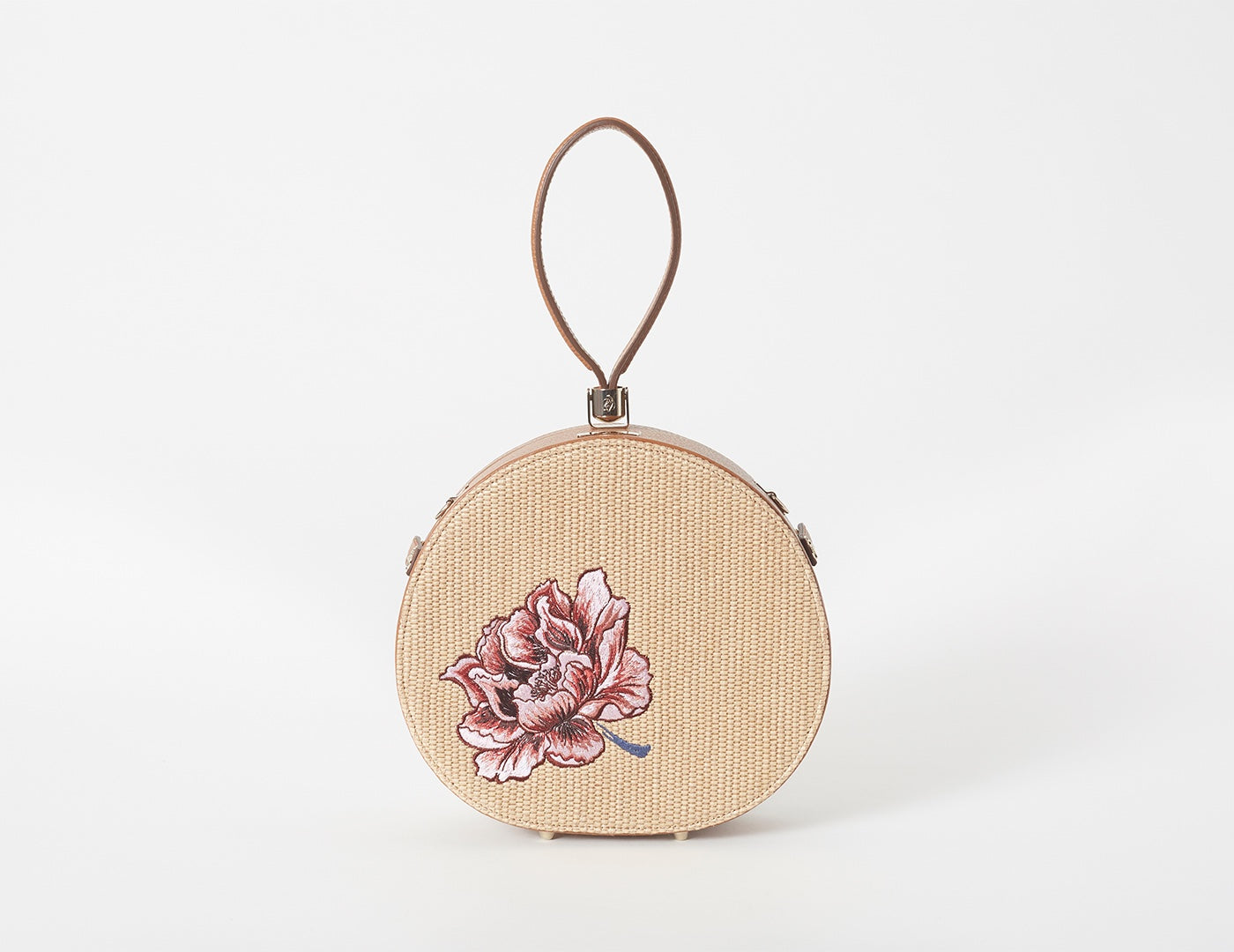 Demi Poppy Round Leather Bag, Embroidered Straw