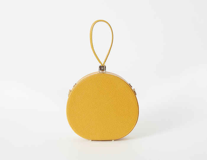 Demi Poppy Round Leather Bag, Mustard