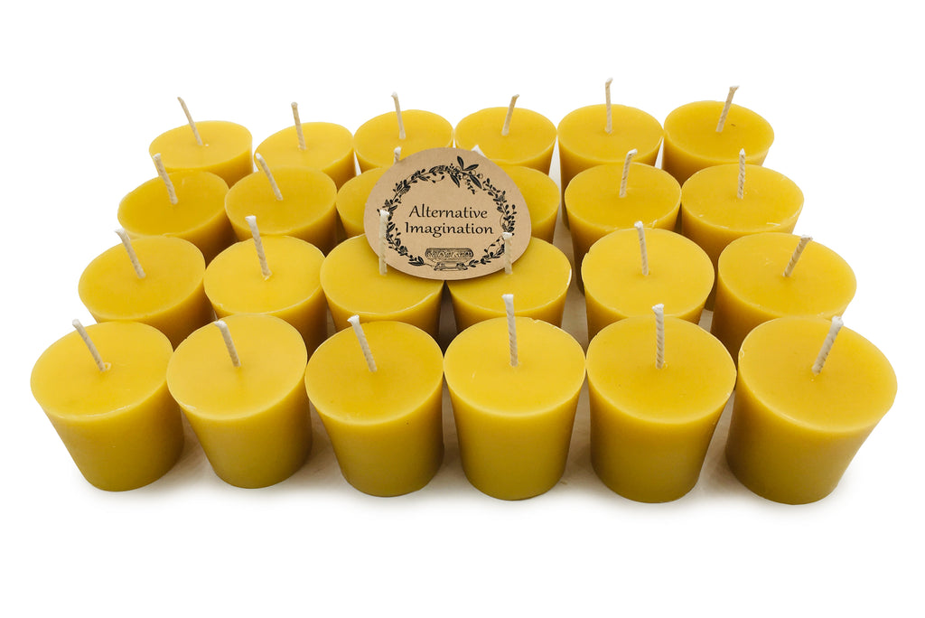 Alternative Imagination Premium 100/% Pure Pack of 12 Natural Beeswax Votive Candles