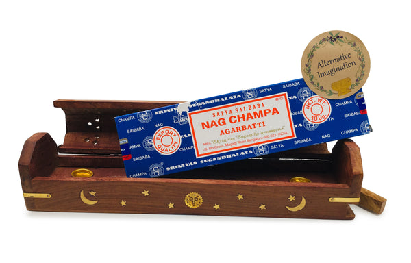 Nag Champa Bundle with Celestial Coffin Incense Burner