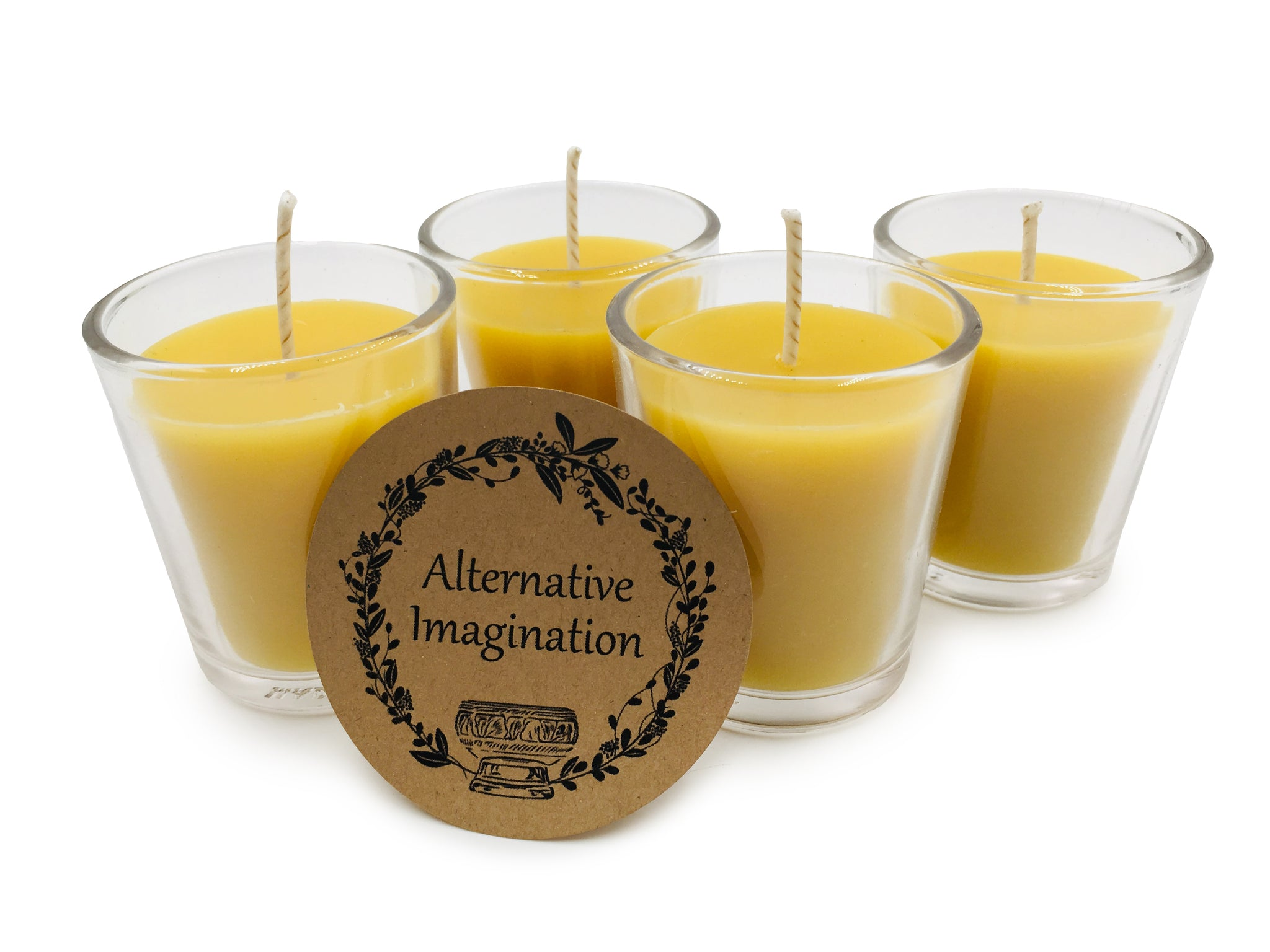 100% Pure, Natural Beeswax Votive Candles in Glass Holders - Pack of 4