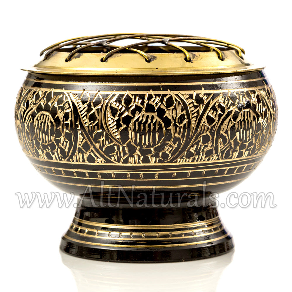 Solid Brass Black Screen Incense Burner