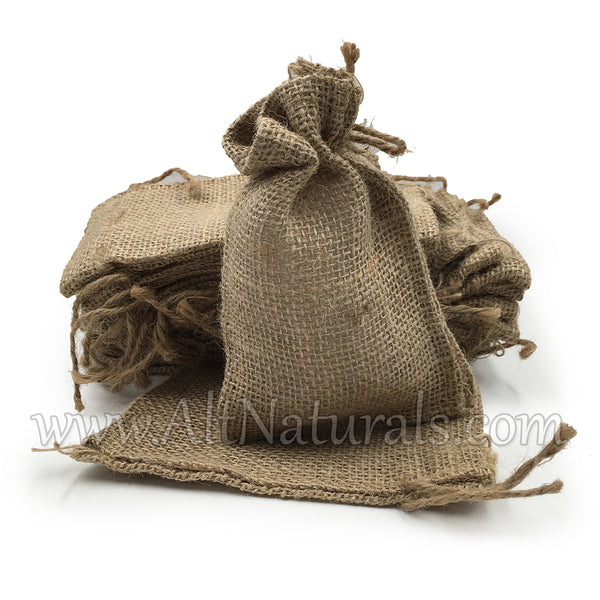 Small Burlap Bag with Drawstring Closure, 4'' by 6'' - Package of 25