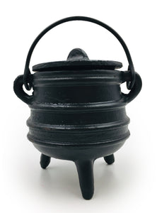 Cast Iron Cauldron (with lid) for Herbs, Spellwork, and More