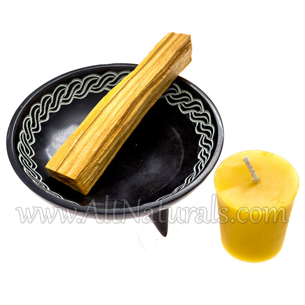 Soapstone Incense Dish with Stick of Chunky Palo Santo, and Beeswax Votive Candle