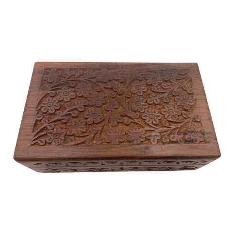 Wooden Box with Floral Carving