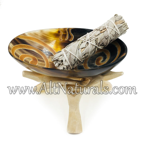 Horn Bowl with Natural Stand With/Without Sage
