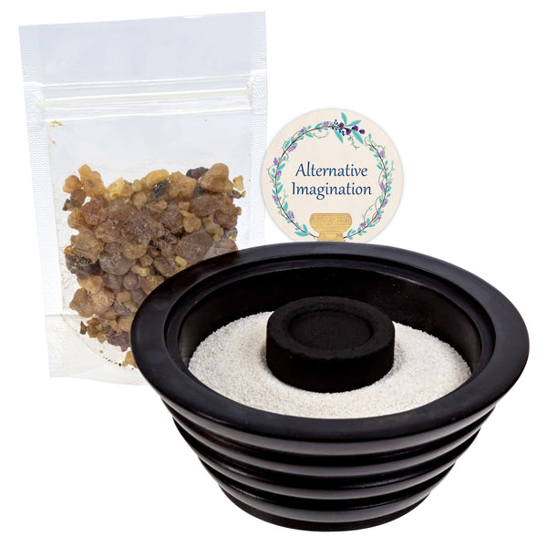 Myrrh Resin Kits. Choose from Brass Bowls, Aluminum Plate, or Stone Bowl