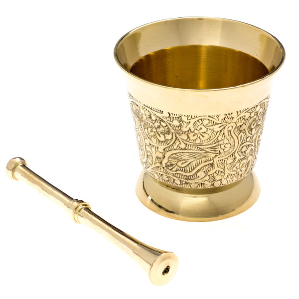 Carved Brass Mortar and Pestle (Clearance)