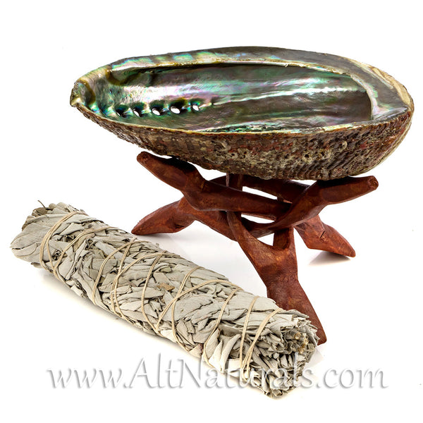 "6.5""+ Abalone Shell with Stained Wooden Tripod Stand and 5"" California White Sage Smudge Stick"