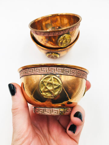 Rustic Pentagram Copper Bowl