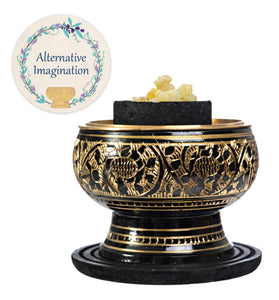 Frankincense Kit with Black Carved Brass Incense Burner