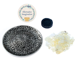 Copal Burning Kit with Aluminum Tibetan Incense Burner Plate