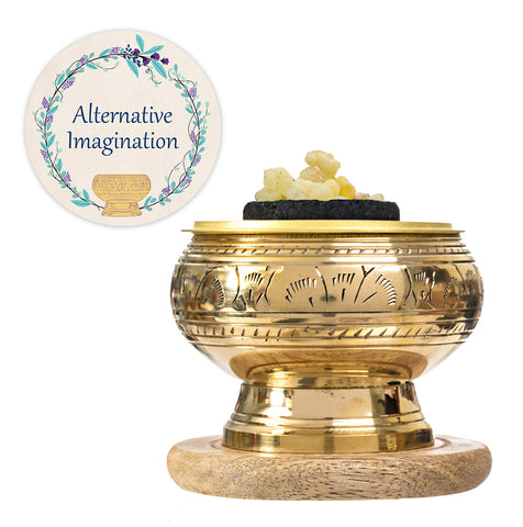Frankincense Resin Kits. Choose from Brass Bowls, Aluminum Plate, or Stone Bowl