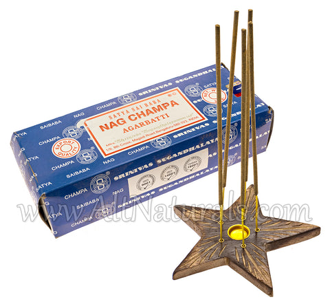 Mango Wood Star Incense Burner with Nag Champa