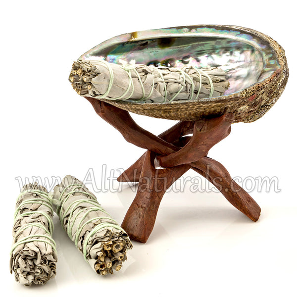Abalone Shell with Stained Wooden Tripod Stand and 3 California White Sage Smudge Sticks