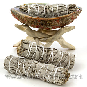 Abalone Shell with Natural Wooden Tripod Stand and 3 California White Sage Smudge Sticks