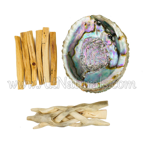 Abalone Shell with Natural Wooden Tripod Stand and 6 Palo Santo Sticks