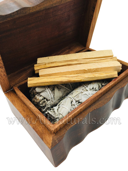 Tree of Life Carved Wooden Box with California White Sage & Palo Santo Incense