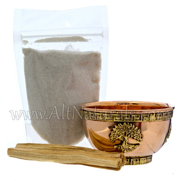 Tree of Life Copper Offering Bowl with Palo Santo