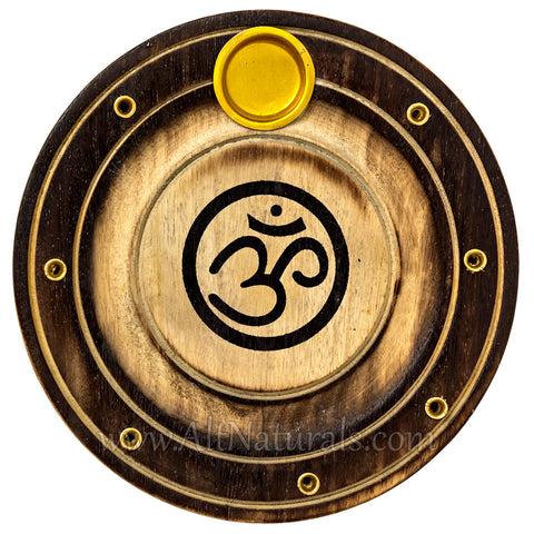 Wooden Om Incense Holder