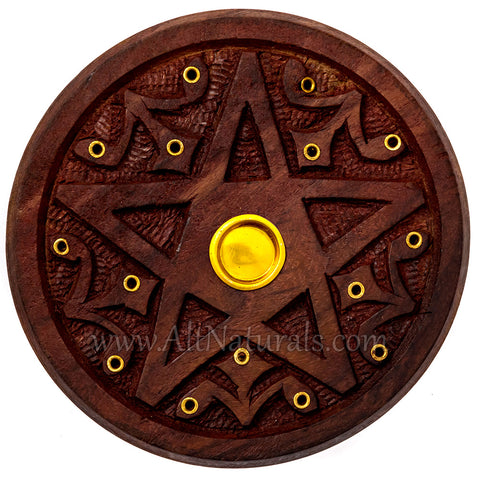 Wooden Pentagram Incense Holder