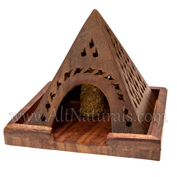 Handcrafted Wooden Pyramid Incense Cone Burners