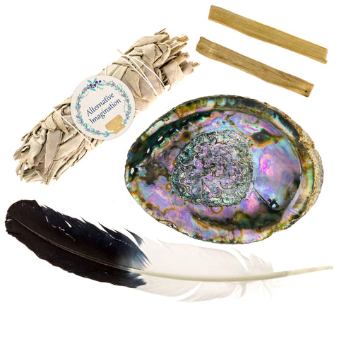 Home Cleansing Kit with Feather, Sage, Palo Santo, and Abalone Shell