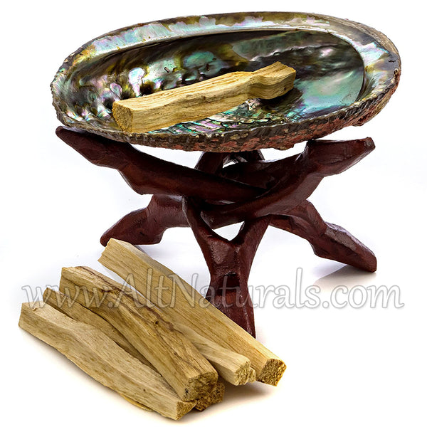 Abalone Shell with Stained Wooden Tripod Stand and 6 Palo Santo Sticks
