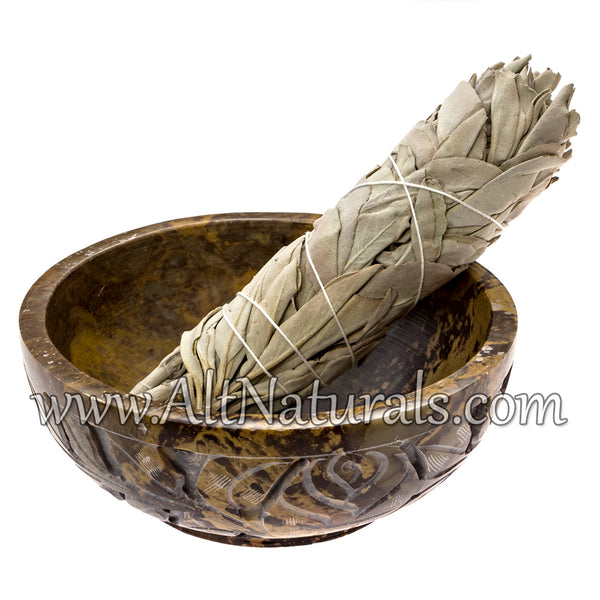 Soapstone Smudge Bowl with California White Sage and Palo Santo