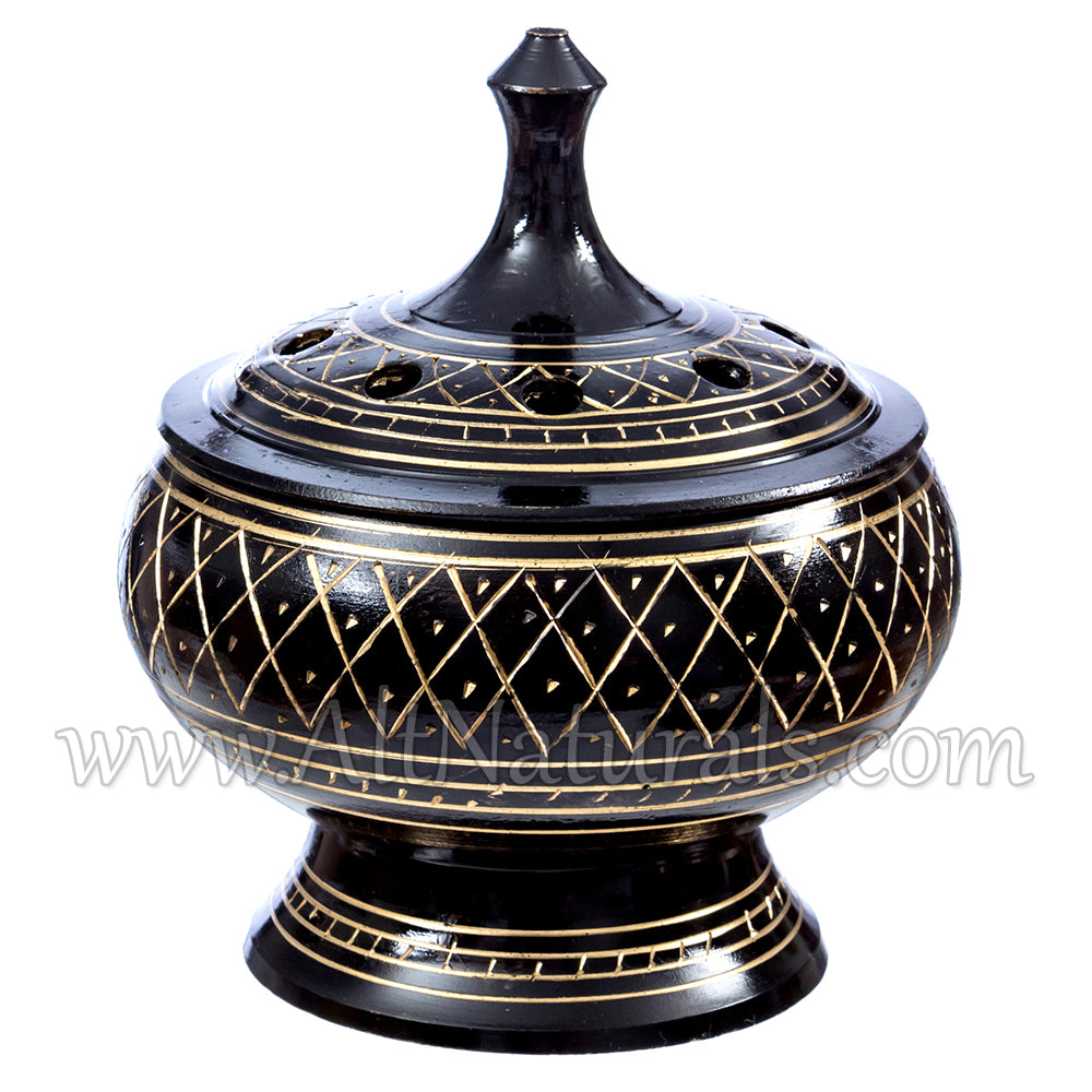 Beautiful Solid Brass Burner with Artistic Carving and Wood Coaster