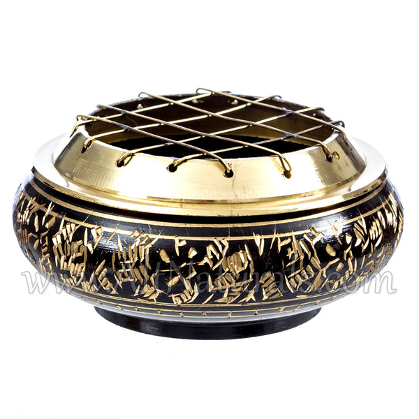 Beautiful Solid Brass Screen Burner with Artistic Carving and Wood Coaster