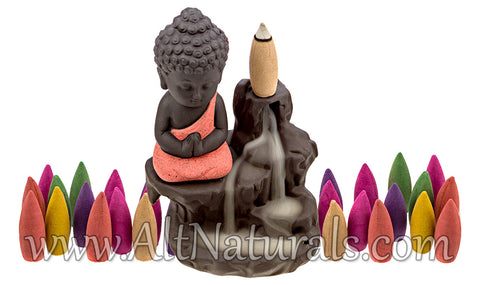 Red Buddha Ceramic Backflow Incense Burner with 100 Backflow Incense Cones