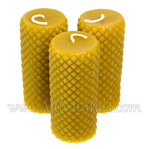 Diamond Accent Pillar Candles with 100% Pure Beeswax - Pack of 3
