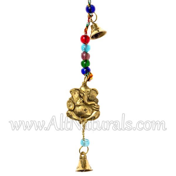 Beaded Wind Chimes with Brass Bell and Charms