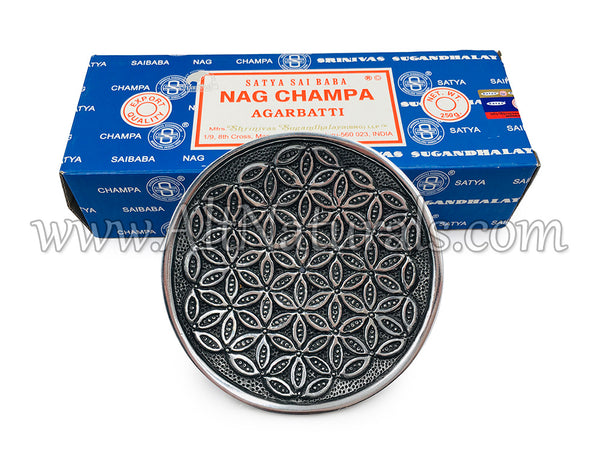 Nag Champa Bundle with Flower of Life Aluminum Incense Plate
