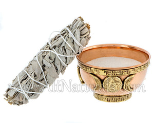 Triple Moon Pentagram Copper Offering Bowl Kit