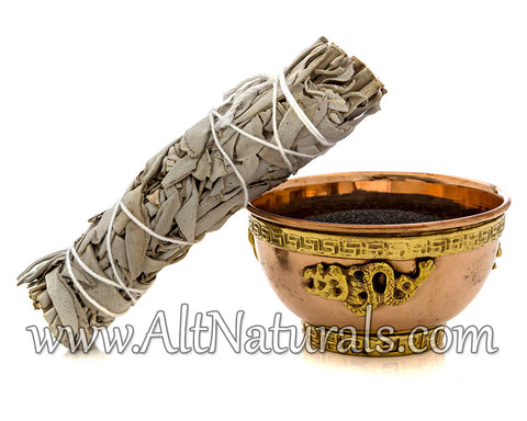 Dragon Copper Offering Bowl Kit with Sage