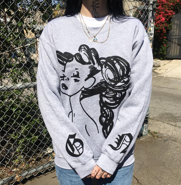 Grace Neutral Grey Grumpy Girl Sweater