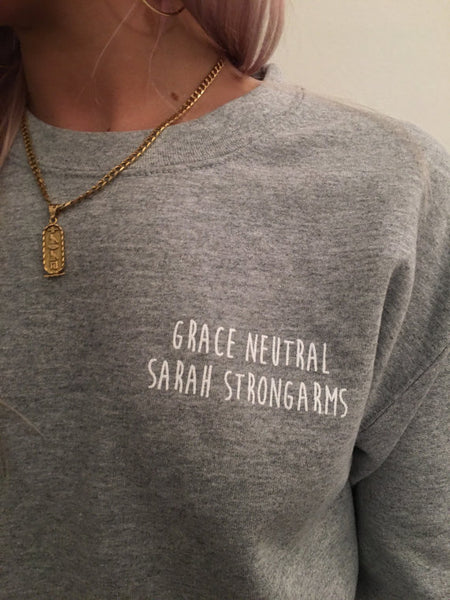 GRACE NEUTRAL X SARAH STRONGARMS GREY SWEATER