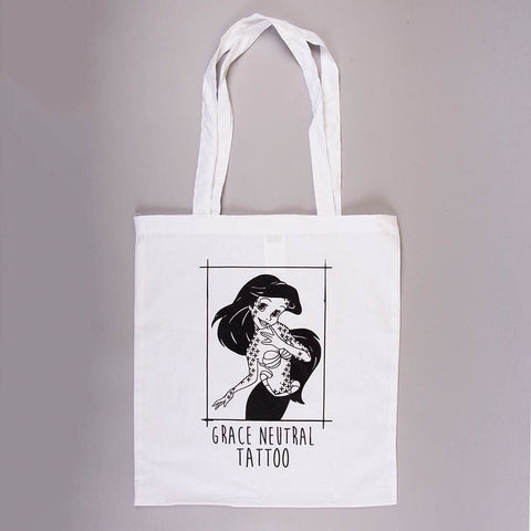 GRACE NEUTRAL MERMAID 'TATTOOED ARIEL' TOTE BAG