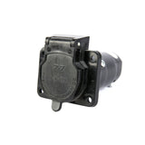 Adapts 7-way trailer connector at the rear of the vehicle to a 12V plug or DC-AC converter 110V Plug Outlet Tin-plated copper terminal pins Provides access to power for TVs, electric coolers,