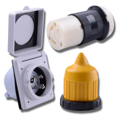 30 Amp Power Inlet – Female Twist locking Connector – Weatherproof Boot Kit
